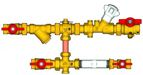 Sestava s filtrem, zónovým a vyvažovacím ventilem