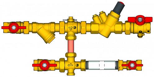 Sestava s filtrem, zónovým a automatickým vyvažovacím ventilem